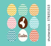 easter card with easter eggs... | Shutterstock .eps vector #578351515