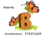 Stock vector wooden textured bold font alphabet b b for butterfly 578351689