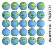25 frames rotating planet earth.... | Shutterstock . vector #578355784