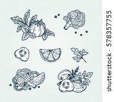 healthy product. vegan food.... | Shutterstock .eps vector #578357755
