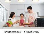 asian family enjoying and... | Shutterstock . vector #578358907