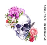 Human Skull With Flowers ...