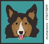 Icon With Sheltie Dog. Vector...