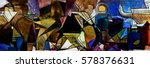 panoramic abstract geometric... | Shutterstock . vector #578376631