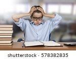 child stressed the study and... | Shutterstock . vector #578382835