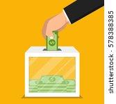 hand putting money in donation... | Shutterstock .eps vector #578388385