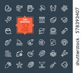 fish and seafood   outline icon ... | Shutterstock .eps vector #578393407