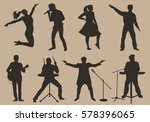 set of brown silhouettes of... | Shutterstock . vector #578396065