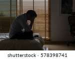 sad businessman sitting head in ... | Shutterstock . vector #578398741