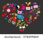 happy valentine's love doodle ... | Shutterstock .eps vector #578399869