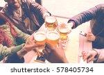 friends cheering with beer... | Shutterstock . vector #578405734