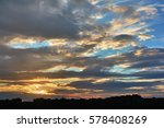 sunset over city rooftops... | Shutterstock . vector #578408269