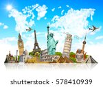 famous landmarks of the world... | Shutterstock . vector #578410939