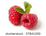 Red Raspberry On White...