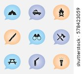 set of 9 editable trip icons....