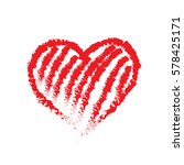 vector hand drawn red heart. | Shutterstock .eps vector #578425171