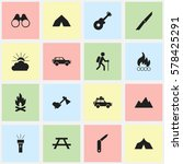 set of 16 editable camping... | Shutterstock .eps vector #578425291