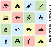 set of 16 editable camping... | Shutterstock .eps vector #578425291
