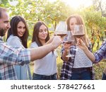 group young friends toast with... | Shutterstock . vector #578427661