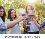 group young friends toast with... | Shutterstock . vector #578427691