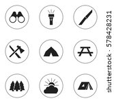 set of 9 editable trip icons.... | Shutterstock .eps vector #578428231