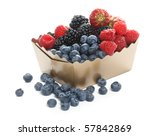 fresh forest berries in golden... | Shutterstock . vector #57842869