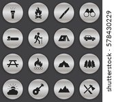 set of 16 editable trip icons.... | Shutterstock .eps vector #578430229