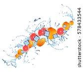 water splash with grapefruits... | Shutterstock . vector #578433544