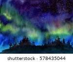 Watercolor Landscape At Night...