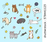 lovely set of cute cats and... | Shutterstock .eps vector #578441125