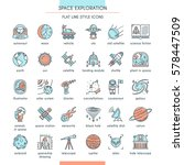 space exploration icon set in... | Shutterstock .eps vector #578447509