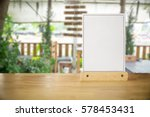 white label on the table. stand ... | Shutterstock . vector #578453431