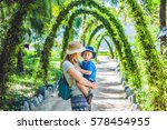 mother and son in a tropical... | Shutterstock . vector #578454955