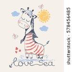 sailor giraffe  hand drawn... | Shutterstock .eps vector #578456485