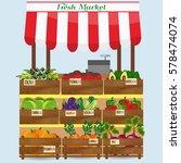 local market farmer selling... | Shutterstock .eps vector #578474074