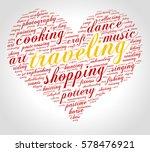 traveling. word cloud  heart ... | Shutterstock .eps vector #578476921