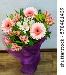 Small photo of bouquet of spring flowers - white and pink Alstroemeria and gerberas