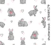 Easter Rabbits Seamless Patter...