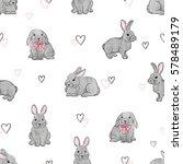 easter rabbits seamless pattern.... | Shutterstock .eps vector #578489179