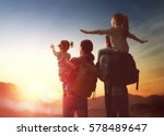 happy family at sunset. father  ... | Shutterstock . vector #578489647