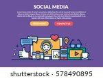social media concept for web... | Shutterstock .eps vector #578490895