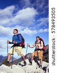 summer hiking in the mountains... | Shutterstock . vector #578493505