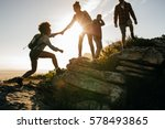 group of hikers on a mountain.... | Shutterstock . vector #578493865
