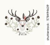 cute indian deer hand drawn... | Shutterstock .eps vector #578494639
