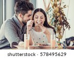 happy young couple having... | Shutterstock . vector #578495629