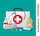 medical first aid kit with... | Shutterstock .eps vector #578497081
