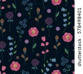 floral pattern on dark... | Shutterstock .eps vector #578498401