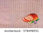 close up of kitchen towel with...
