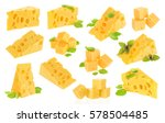 cheese collection isolated on...   Shutterstock . vector #578504485