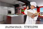 Cute young boy dressed as a chef in a modern kitchen holding a book - stock photo